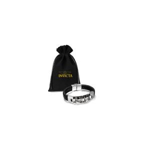 Inviata Men's Titanium Bracelet Black With Leather Braid Bracelet