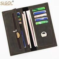 Leather Secretary Wallet Slim Long Versatile Vertical Bifold Card Holder Purse