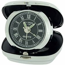 Widdop and Bingham - Metal Fold Up Alarm Clock -Black  Dial