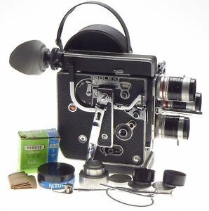 H8 BOLEX reflex 8mm film camera kit 3 turret Macro lenses 12.5mm 5.5mm 36mm more