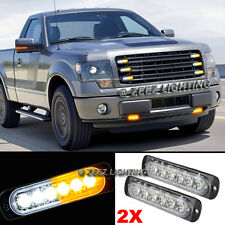 2X 6 LED Amber&White Emergency Hazard Warning Strobe Beacon Caution Light Bar#90
