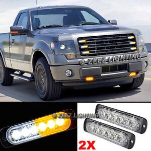 2X 6 LED Amber&White Emergency Hazard Warning Strobe Beacon Caution Light Bar#95