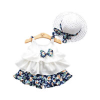 Toddler Kids Baby Girls Summer Clothing Floral Tops+Shorts Pants+Hat Outfits NEW