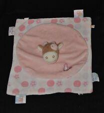 Peluche doudou vache plat NOUKIE'S rond carré rose blanc papillon étiquette TTBE