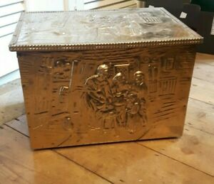 Antique Brass Plated Wood/Coal Box Scuttle