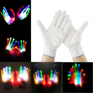 1 Pair Fully Glowing Light up Gloves Halloween Flashing Multicolor Fancy Dress