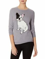 The Limited FRENCH BULLDOG Frenchie Dog Gray Thin Sweater Womens Sz M