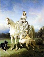 VICTORIAN SIDESADDLE LADY GREYHOUNDS SALUKI CANVAS ART