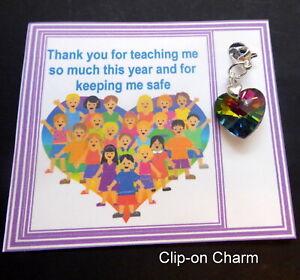 Thank you gift Rainbow Crystal 14mm Heart Charm gift for Teachers on gift card