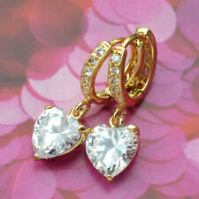 9K Yellow Gold Filled Earrings Hand-inlaid Big Heart-Shape Stones