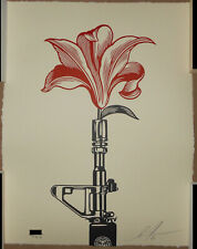Shepard Fairey AR 15 Lily Letterpress Print Signed #/450 Obey Giant Peace Poster