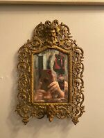 Antique Bradley Hubbard Mirror Sconces Bacchus Read Description Gold Tone Brass