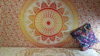 Lotus Blume Gelb Mandala Twin Überwurf Wandbehang 100% Baumwolle Deko Tuch