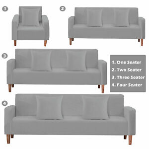 1-4 Seater Sofa Covers Easy Fit Stretch Protector Soft Couch Cover Thick Velvet