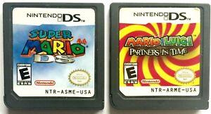 """2 NINTENDO DS MARIO GAMES ~ SUPER MARIO DS PLUS MARIO & LUIGI """"PARTNERS IN TIME"""""""