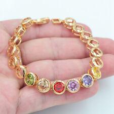 18K Gold Filled Round Multi-Color Rainbow Candy Mystical Topaz Gems Bracelet
