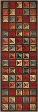 "Brown Multicolor Meander Non Skid Slip Rubber Back 2x5 (20""X59"") Runner Rug Rugs"