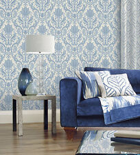 2 ROLL LOT Victorian Light Blue White Paisley Wallpaper Textured Traditional DIY