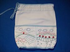 Petit sac, pochon ancien, coton blanc épais, brodé ...