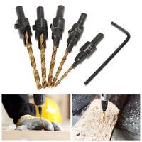 5Pcs Countersink Drill Bit Set 1/4 Hex Shank HSS Woodworking Pilot Screw Holes