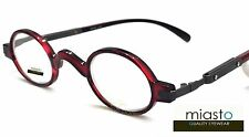 NEW Miasto Retro Mini Oval Round Rx Optical Spectacle Eyeglasses Frames~RED