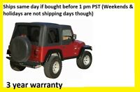 BLACK SOFT TOP PLUS UPPER SKINS & TINTED REAR WINDOWS 97-2006 FOR JEEP WRANGLER