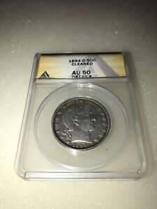 1894-O Barber Silver Half Dollar 50c ANACS AU 50 Details Cleaned