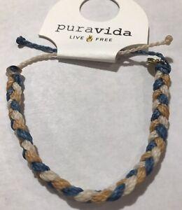 Pura Vida Braided Bracelet Blue Tan And White Thick Braid Gold Logo Charm NWT