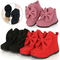 Sales Autumn Fall Girls Kids Bowknot Princess Soft Ankle Boots Shoes UK Size7-13