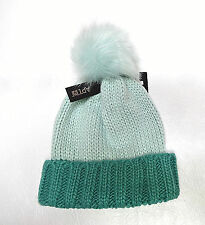 Apt 9 womens winter cold weather Two Tone turquoise Pom Pom beanie hat OS NEW