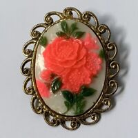 Vintage Hot Pink Floral Oval Brooch Pin Cameo Style Rose Flower Gold Tone Bright
