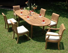 "Giva4 A-Grade Teak 11 pc Dining 94"" Oval Table Chair Set Outdoor Furniture New"