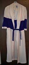 Women's Robe, Bill Blass, Off White with Navy Blue Trim, Size Medium