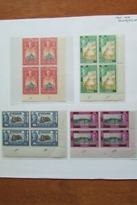 XL5722: Ceylon (1947): Complete Set KGVI Stamp Blocks SG402 – 405