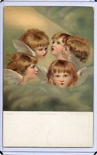 ART POSTCARD,5 CHERUBS,ANGELS-HEADS OF ANGELS IN THE CLOUDS-J REYNOLDS,LONDON
