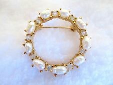 Crystal Circle Brooch Pin Elegant Estate Genuine Freshwater Pearl,