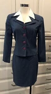 Women's 5/6 My Michelle Skirt Suit Blue Striped Polyester Stretch Mini Skirt