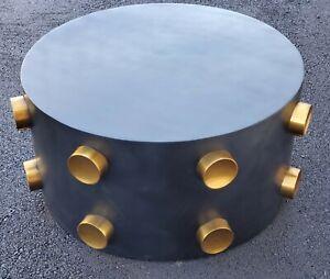 "TOV 'ROCKSTAR' Coffee Table Black & Gold Metal 33"" Dia Round Modern Cool"