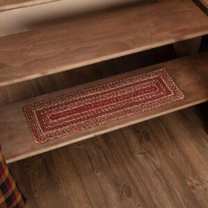 "VHC Brands Primitive 8.5""x27"" Stair Tread Red Cider Mill Jute Latex Floor Decor"