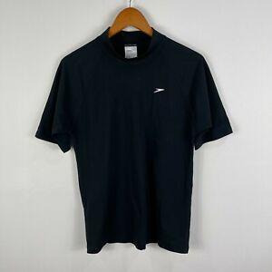Speedo Mens Shirt Rashie Size Small Black Short Sleeve Round Neck 15.19