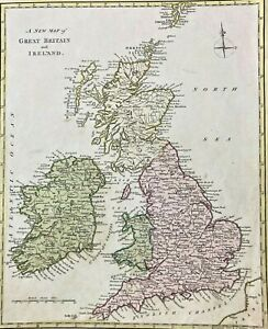 Antique 1794 Map of Great Britain and Ireland by Robert Wilkinson & E. Bourne
