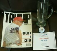 DONALD TRUMP SIGNED TRUMP GOLF DIGEST SPECIAL EDITION PLUS MAGA RALLY TIX + MORE