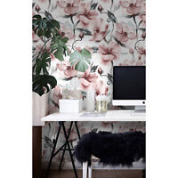 Floral Removable wallpaper red gray and white wall mural large
