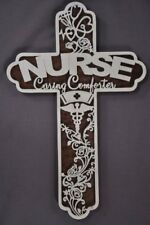 Nurs Health Care  Scrolled Wooden Cross Wall Hanging Amish Made