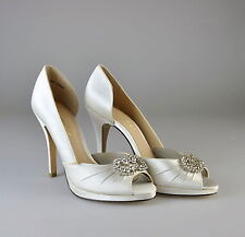 $185 NIB Brianna Leigh Karina White Peep Toe Platform Heels Pump Shoes 8 B