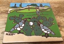 """Earthtones Golf Tile Trivet Coaster KRH Tucson AZ Hangs Golfer Wall Art 1999 6"""""""