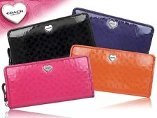 Coach Perforated Embossed Liquid Gloss Leather Accordion Zip around Wallet 51675