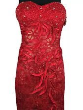 NEW Aspeed Designs Red Beaded Rhinestone Prom Pageant Formal Gown sz Large 10 12