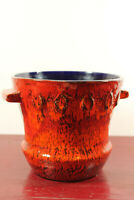 60er Übertopf Cachepot Keramik Blumentopf Vase Fat Lava Mid-Century Vintage 70er