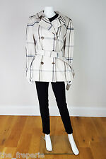 *COACH* SHORT CHECKED TRENCH COAT (L)